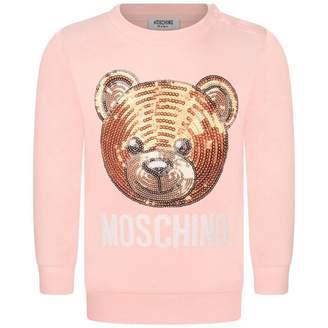 Moschino Girls Pink Sequin Teddy Sweater