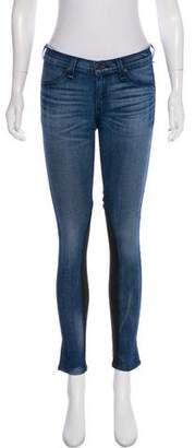 Rag & Bone Leather-Paneled Low-Rise Jeans