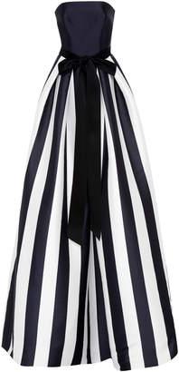 Monique Lhuillier Strapless Striped Satin Ball Gown