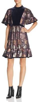 Rebecca Taylor Velvet-Trimmed Metallic Floral Dress