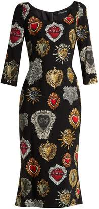 Dolce & Gabbana Sacred Heart-print scoop-neck stretch-cady dress