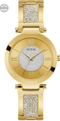 GUESS Women Gold-Tone Stainless Steel & Swarovski Crystal Bangle Bracelet Watch 36mm