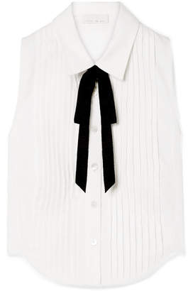 Fleur Du Mal Grosgrain-trimmed Pintucked Cotton-poplin Shirt - White