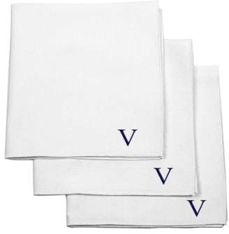 Cathy's Concepts Set of 3 Monogram Cotton Pocket Squares