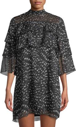 Catherine Malandrino 3/4-Sleeve Ruffled Mini Shift Dress
