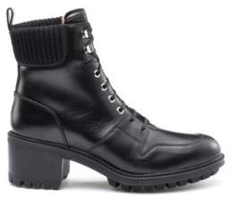 HUGO Boss Lace-up calf-leather boots lug sole 10 Black