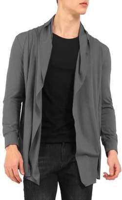 Unique Bargains Men Long Sleeves Open Front Irregular Hem Shawl Collar Long Cardigan