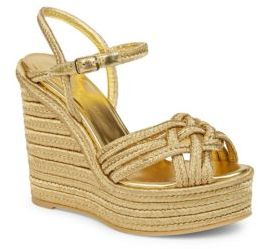 Saint Laurent Metallic Espadrille Wedge Sandals