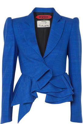 Ronald van der Kemp - Asymmetric Textured Silk Peplum Blazer - Blue
