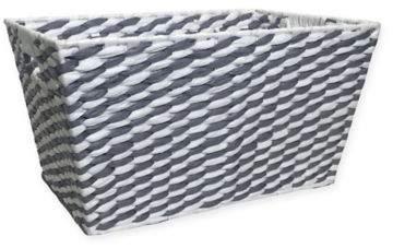 Bin Paper Weave Basket in Grey/White