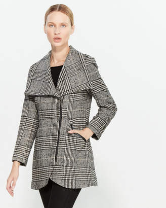 French Connection Plaid Tulip Hem Coat