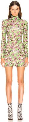 Vetements Long Sleeve Body Dress in Green Flowers | FWRD