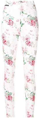 Philipp Plein embellished rose print jeans
