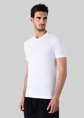 Giorgio Armani V-Neck Stretch Jersey T-Shirt