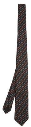 Prada Geometric Print Silk Tie - Mens - Brown Multi