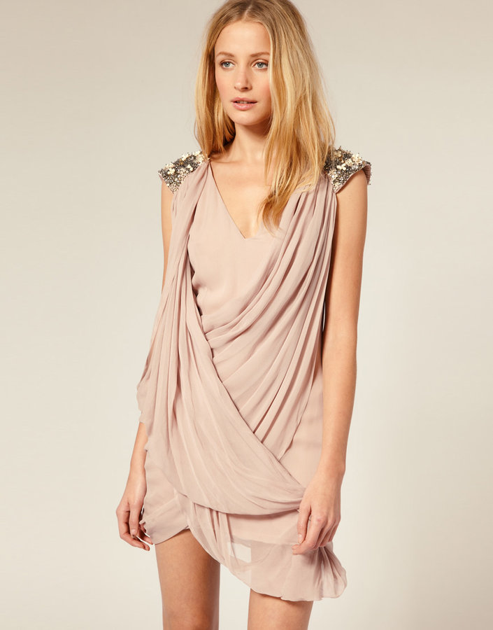 French Connection Silk Embellished Shoulder Grecian Dress