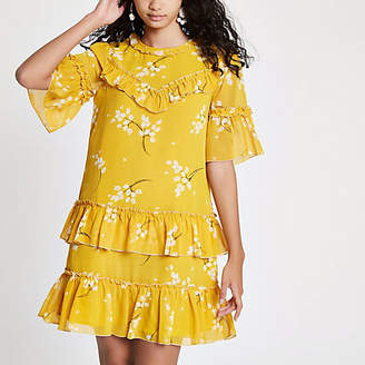 River Island Yellow floral print sequin swing dress