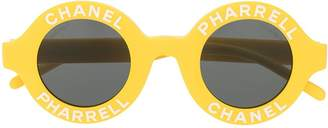 Pharrell Chanel Pre-Owned x logo round sunglasses