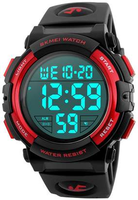MASTOP Men's Digital Sports Watch LED Screen Large Face Military Watches Waterproof Stopwatch Alarm Army Watch