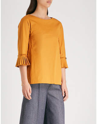 Max Mara S Pleated cotton-blend top