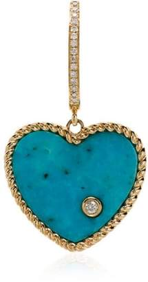 Leon Yvonne 18k gold, diamond and turquoise singular drop earring
