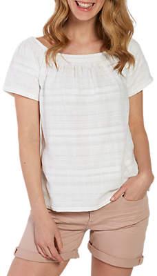 Fat Face Ellen Embroidered Bardot Top, White