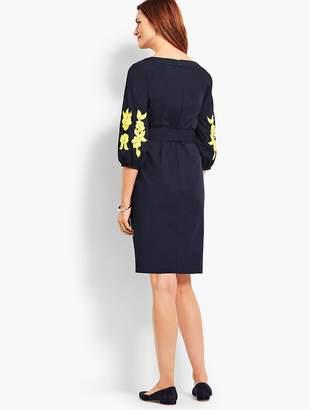 Talbots Embroidered Sleeve Poplin Shift Dress