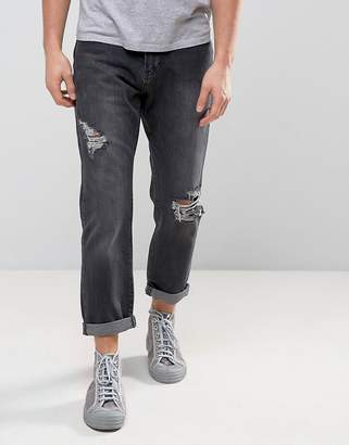 Zeffer Ripped Skater Fit Jeans in Washed Black