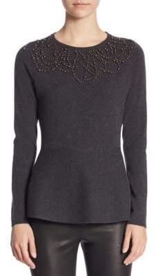 Saks Fifth Avenue COLLECTION Cashmere Pearl Trim Peplum Sweater