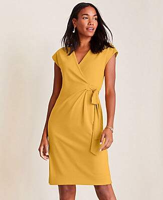 Ann Taylor Petite Piped Matte Jersey Wrap Dress