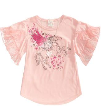 Belle Du Jour Big Girls 2-Pc. Lace Ruffle Bell-Sleeve Top & Necklace Set