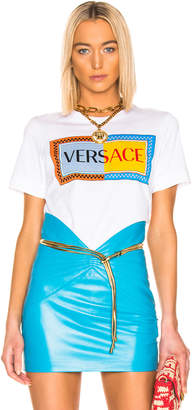Versace Logo T Shirt in White   FWRD