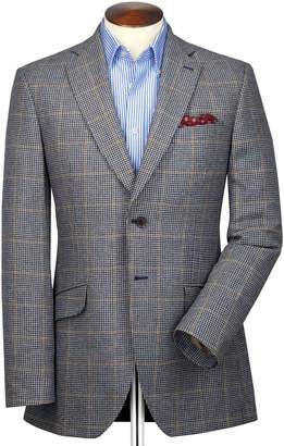 Charles Tyrwhitt Slim Fit Blue and Beige Checkered British Tweed Cotton/Cashmere Jacket Size 40