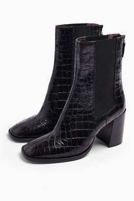 Topshop HUNTINGTON Black Crocodile Boots