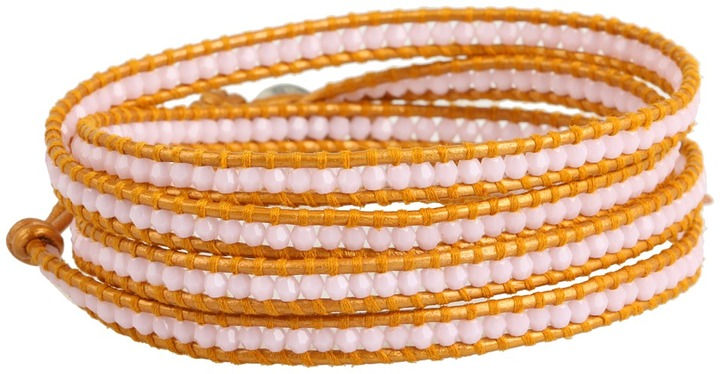 Chan Luu Petite Rose Alabaster Crystal Stone Wrap Bracelet on Indian Sun Leather (Rose Alabaster/Indian Sun) - Jewelry