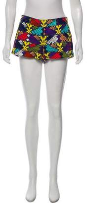 Tibi Patterned Denim Shorts