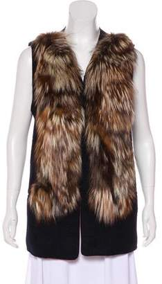 Mcginn Fox Fur-Trimmed Wool Vest