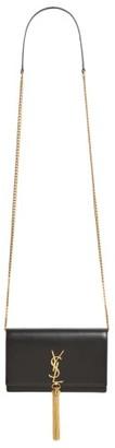 Women's Saint Laurent Small Monogram Calfskin Leather Wallet On A Chain - Black $1,550 thestylecure.com