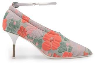Jil Sander Floral Brocade Bracelet Strap Pumps - Womens - Pink Multi
