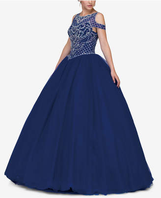 Dancing Queen Juniors' Embellished Cold-Shoulder Gown
