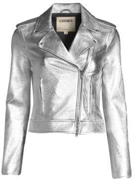 L'Agence Perfecto Metallic Leather Jacket