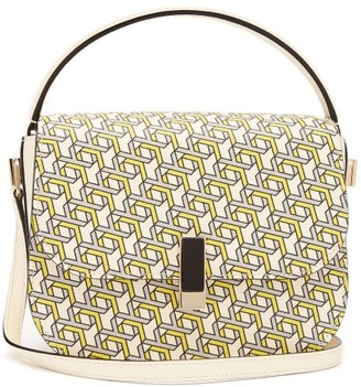 Valextra Iside Xy Print Leather Cross Body Bag - Womens - Yellow Multi