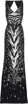 Roberto Cavalli Open-back Embellished Silk-georgette Gown