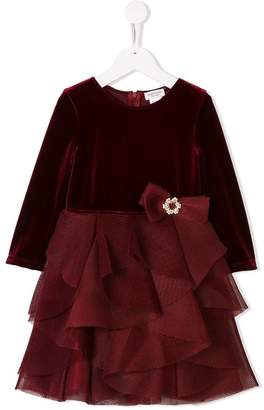 David Charles Kids ruffled long sleeved dress
