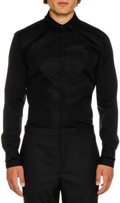 Neil Barrett Men's Tuxedo Fringed Grosgrain Long-Sleeve Shirt