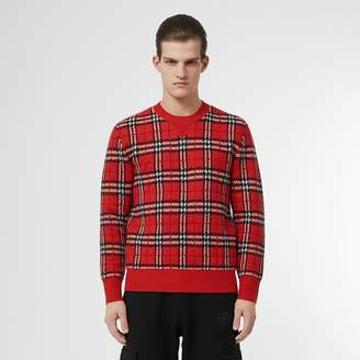 Burberry Check Cashmere Jacquard Sweater
