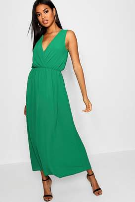 boohoo Woven Wrap Front Maxi Dress