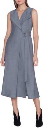 de341e60692 Akris Faux Wrap Wool Blend Seersucker Dress