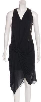 Helmut Lang Leather-Trimmed High-Low Dress w/ Tags