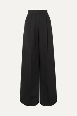 Alexander McQueen Pleated Crepe Wide-leg Pants - Black